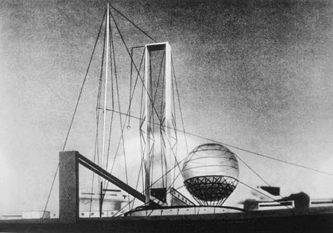 Ivan Leonidov's proposal for the Lenin Institute in Moscow (1927)