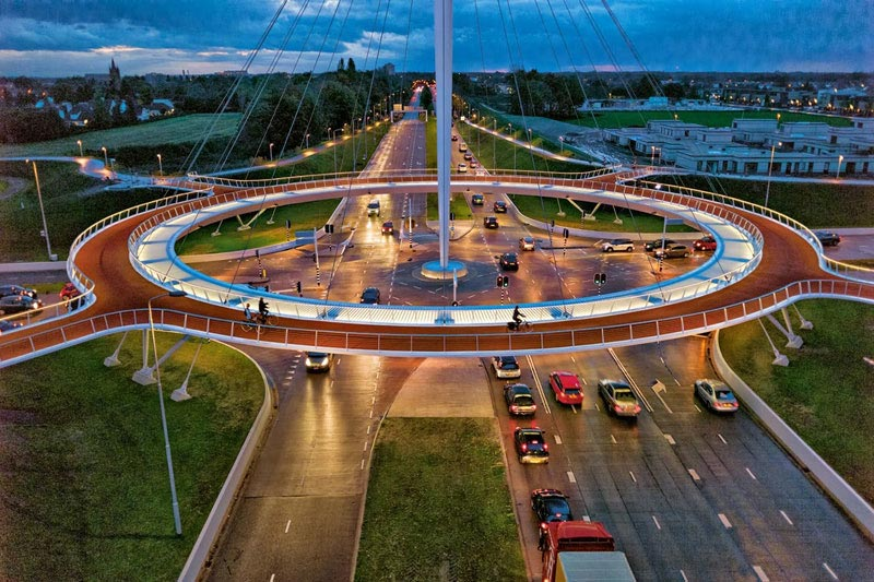 World's First Suspended Bicycle Roundabout