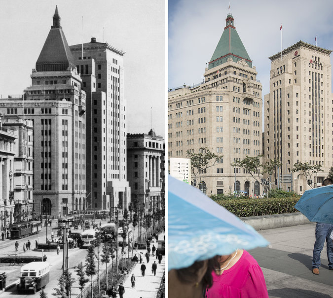 Sir Victor Sassoon's Cathay Hotel, renamed the Peace Hotel, in 1958, left, and today
