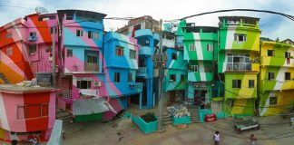 Artists Jeroen Koolhaas and Dre Urhahn create community art by painting entire neighborhoods, and involving those who live there ...