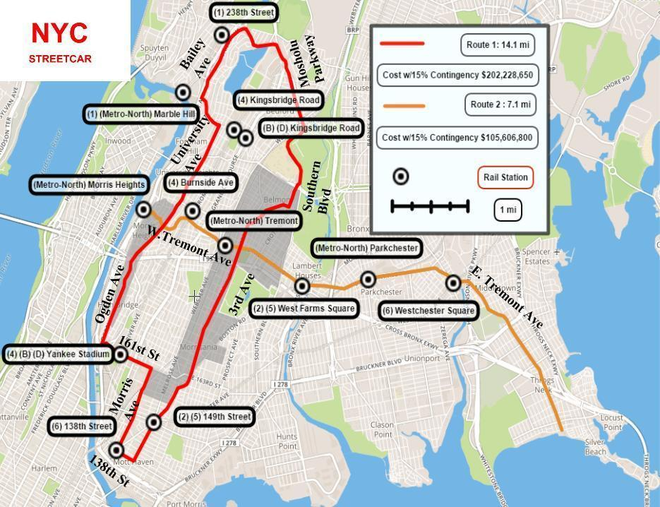 Proposed map of a new streetcar system in The Bronx which would benefit many underserved areas of the borough