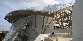 The terrace at the Fondation Louis Vuitton museum, Paris, by Frank Gehry