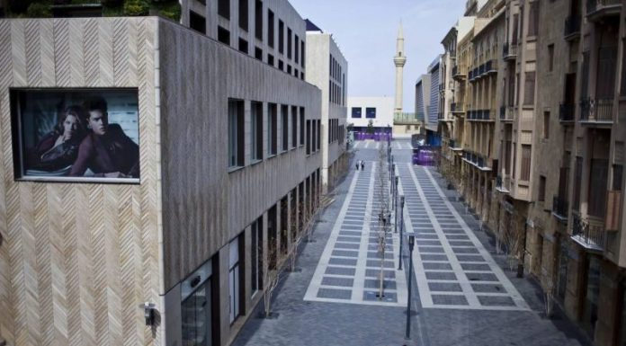 A woman walks in the Beirut Souks shopping region. Due to political tensions, many shopping areas are less vibrant due to the dwindling economic situation in Lebanon