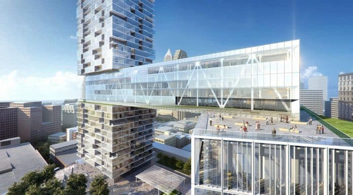 The hotel-bridge in the nuCLEus development proposal, designed by NBBJ