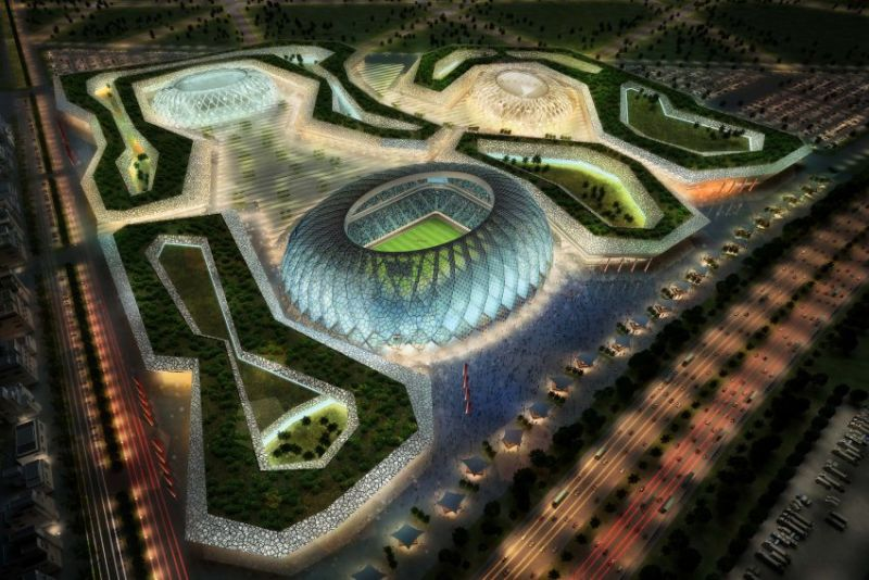 In this handout image supplied by Qatar 2022  The Al-Wakrah stadium complex is pictured in this artists impression as Qatar 2022 World Cup bid unveils it's stadiums on September 16, 2010 in Doha, Qatar