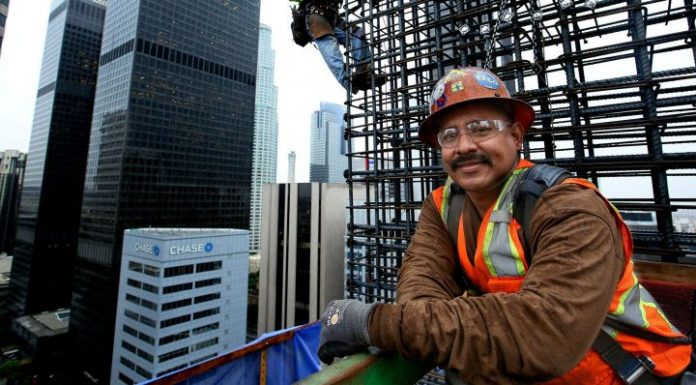 "Working 300 feet above downtown Los Angeles, ironworkers position reinforcing steel onto the walls of the New Wilshire Grand. ""This is dangerous work,"" says foreman Otto Solis, ""but it can change your life."""