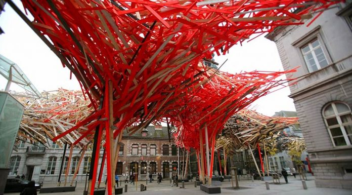 Neon nest … the €400,000 centrepiece of Mons Capital of Culture has now been dismantled for fear of collapse