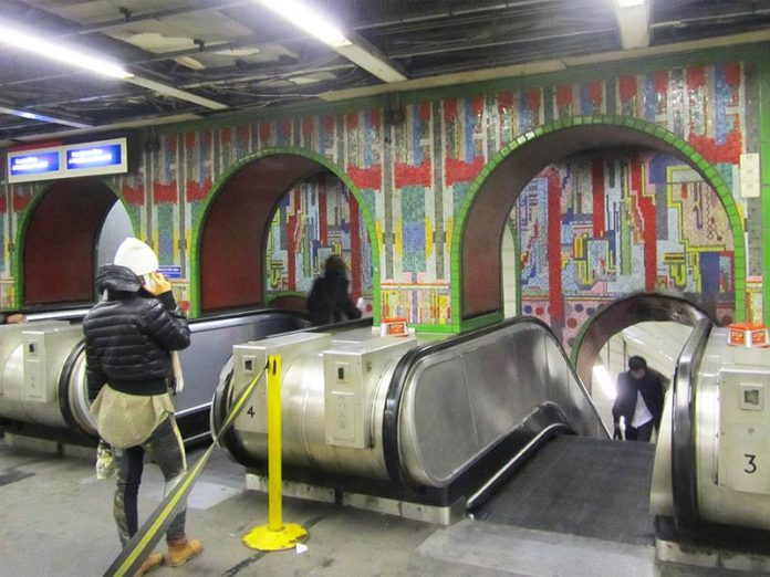 Paolozzi's arch mosaics above the escalators at Tottenham Court Road station will be demolished as part of the overhaul