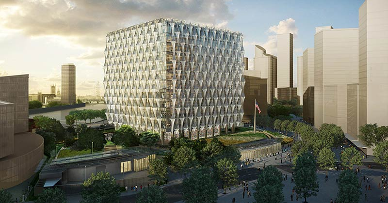 Rendering of the new u. S. Embassy in london, which achieves security, not through roadblocks and concrete barriers, but through landscape architecture, such as ponds, berms and low-wall gardens