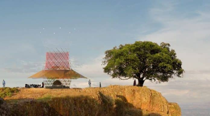 The WarkaWater tower produces water by harvesting rain, fog and dew from the air