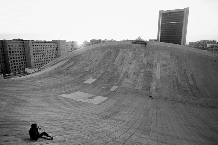 The secret skateboarding paradise on top of Moscow's Soviet-era buildings