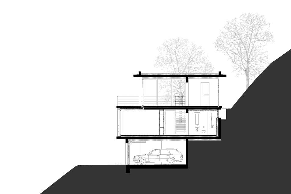 House on a slope gian salis architects architecture lab for Building on a slope cost