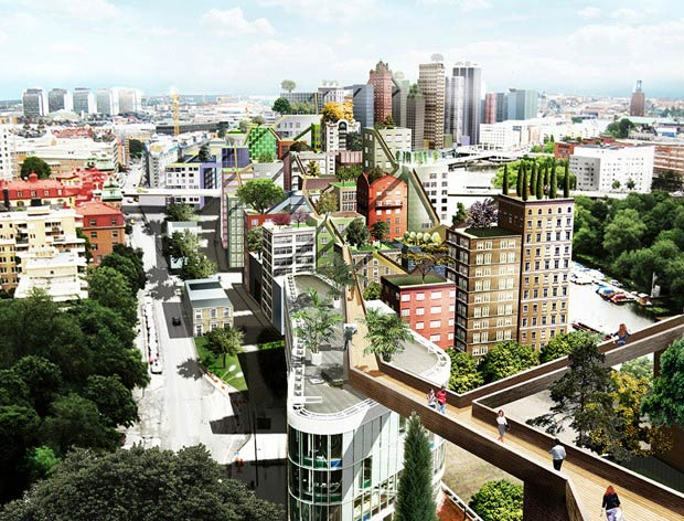 "Could roof-straddling ""sky walks"" soon be coming to Stockholm?"