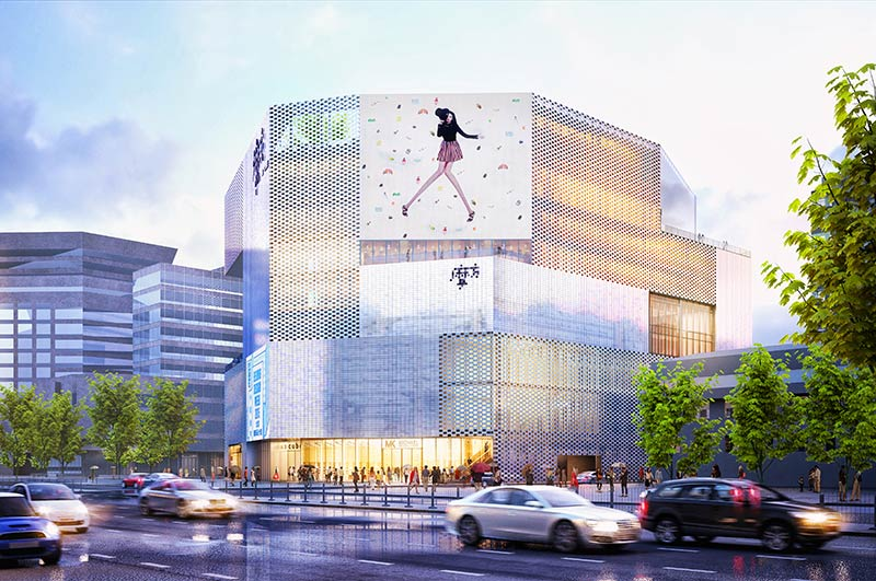 M-Cube shopping centre at Chongwenmen, Beijing offers changing façade conditions: grey to pearlescent