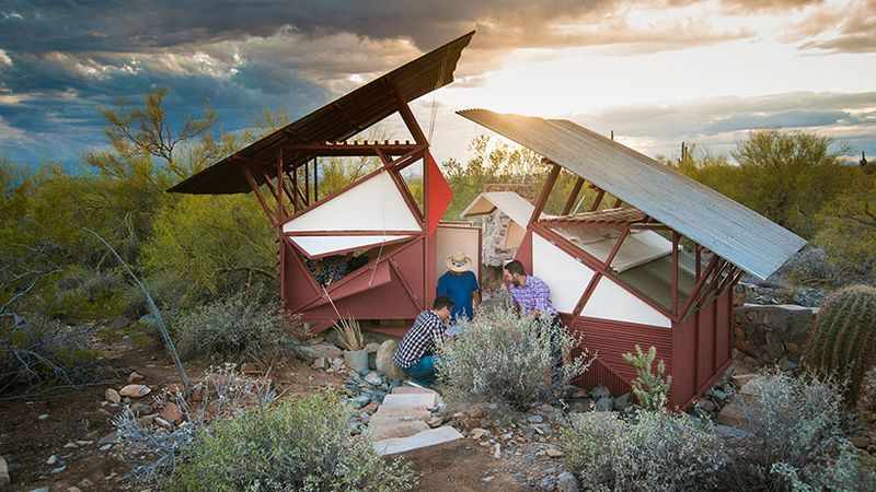 Frank Lloyd Wright Architecture School students built shelters on the school's Scottsdale, Arizona campus