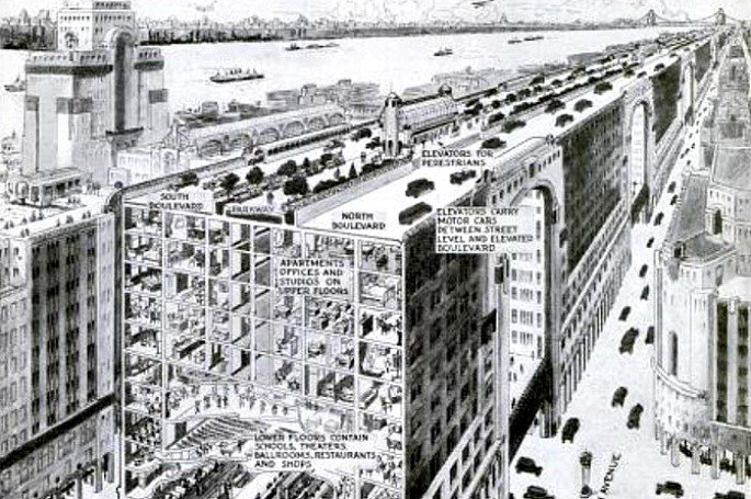 In 1927, NYC Almost Got a 16-Mile Highway Along Building Rooftops