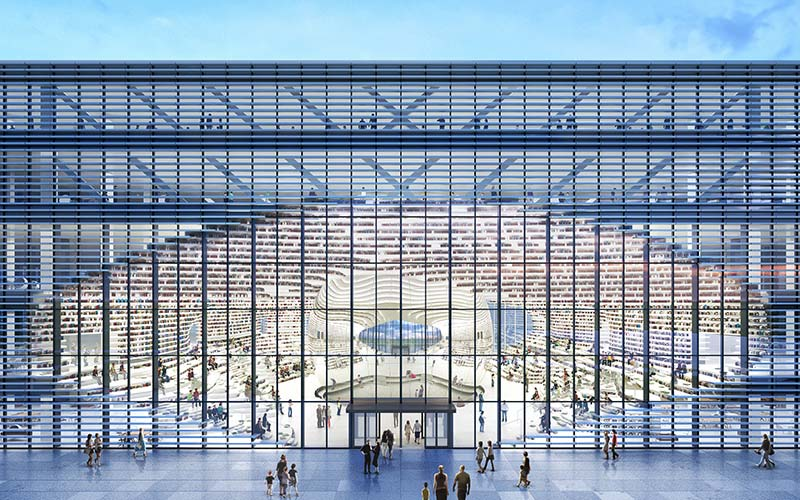 MVRDV's Tianjin Binhai Library centres around a mirrored auditorium