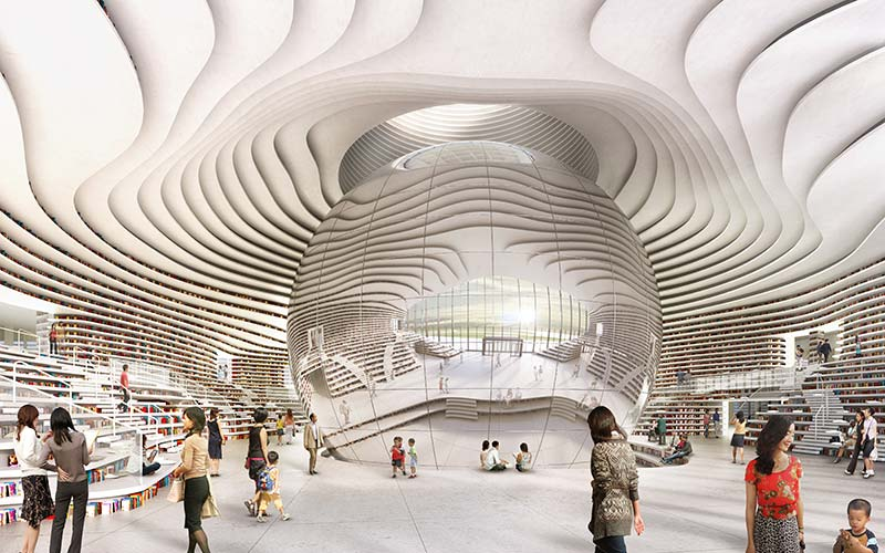Mvrdv are nearing the completion of a library in tianjin, china