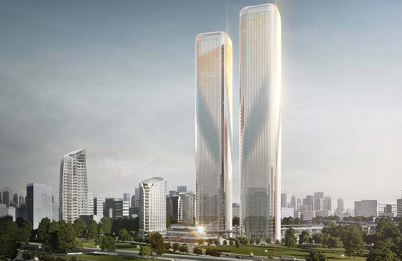 Due to be completed in 2020, the Zhejiang Gate Towers will be Hangzhou's tallest at 280 metres