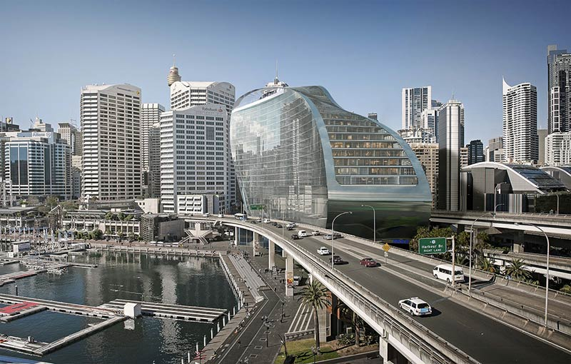 The new proposal for the Ribbon by Hassell at Sydney's Darling Harbour