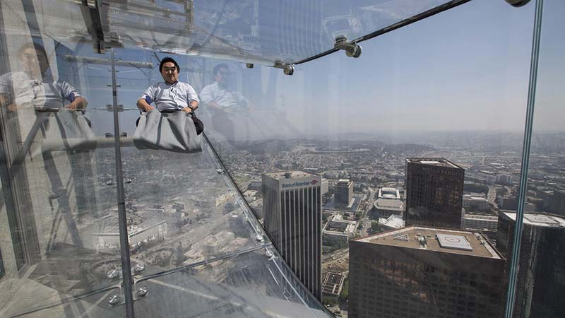U.S. Bank Tower's glass Skyslide