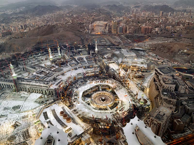 A view of the Grand Mosque from a Grand Royal Suite at the Fairmont Makkah Clock Royal Tower