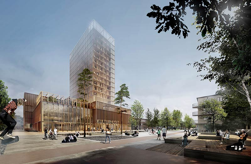White Arkitekter wins cultural centre in Skellefteå with timber framed high-rise