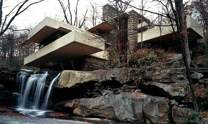 Fallingwater in Bear Run, Pennsylvania, built by Frank Lloyd Wright