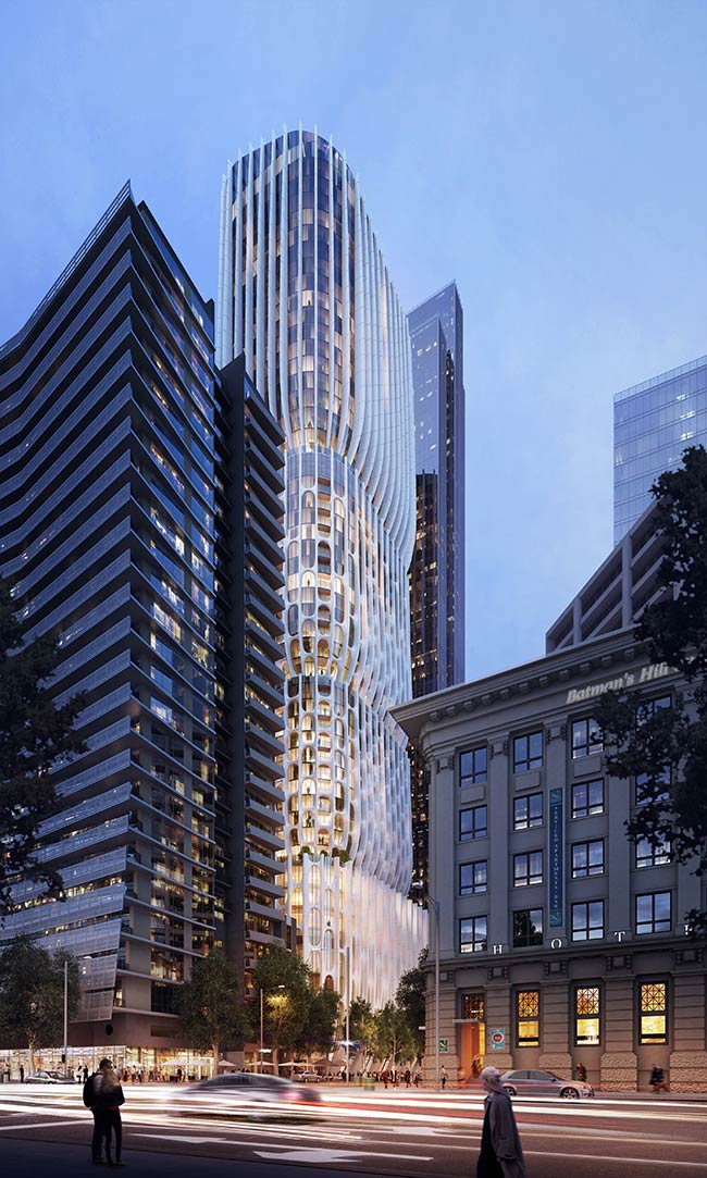 Zaha hadid s 600 collins street awarded planning approval for Architects melbourne