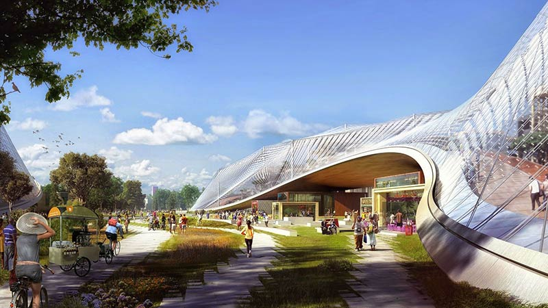 A depiction of Google's green campus proposal