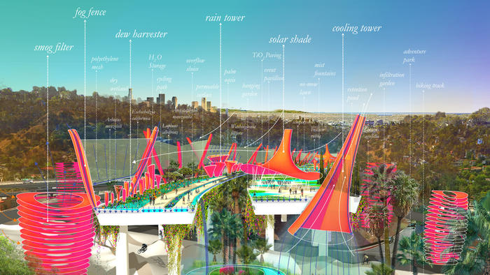 Imagine if LA's 2 Freeway ended in a colored, eco-smart park
