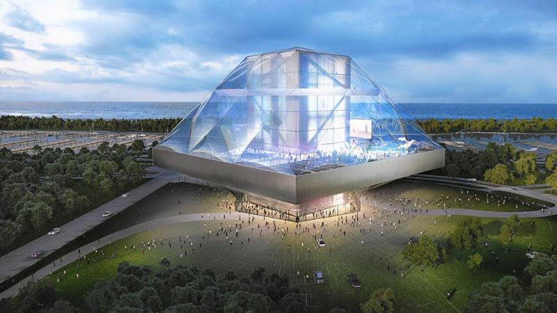 This glass building designed by architect Shohei Shigematsu was a losing entrant in George Lucas' 2014 competition to design his museum.