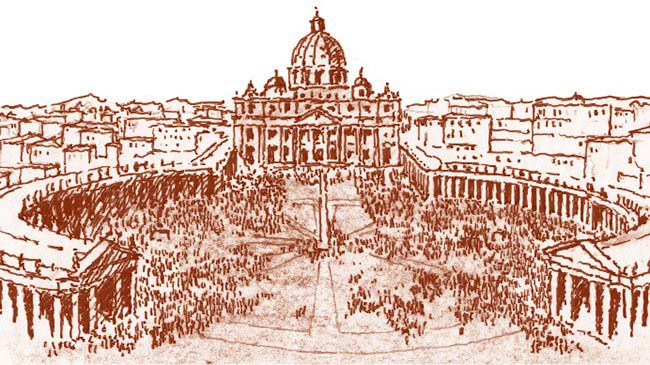"""Piazza San Pietro, Rome, the welcoming """"enfolding arms"""" of the immensely powerful """"mother"""" church."""