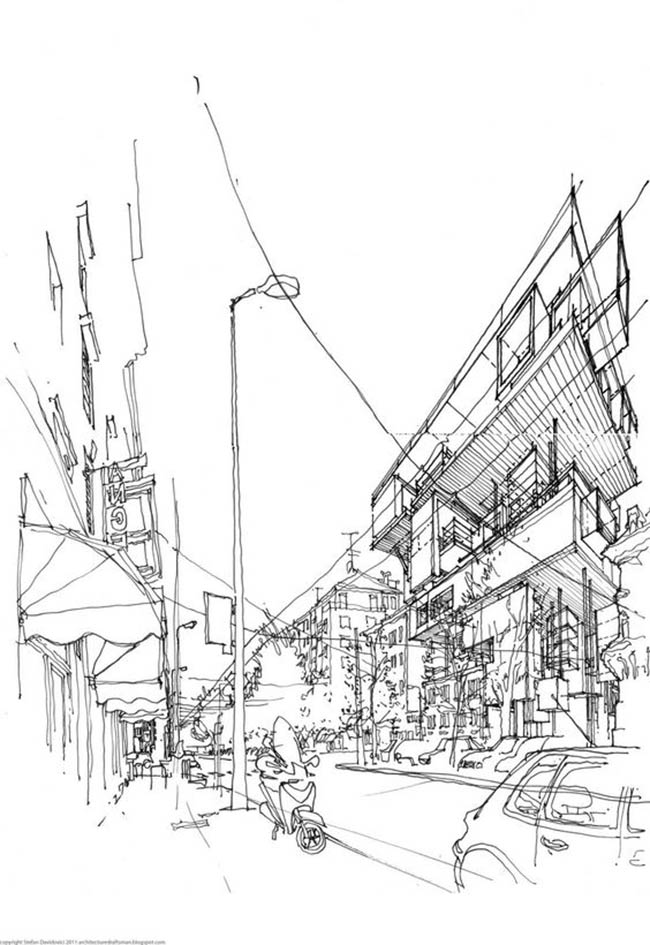 Drawing by Stefan Davidovici, Architect - Milan, Italy