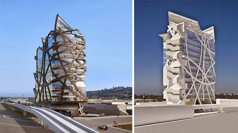 This L.A. office building's steel bands are an exoskelton