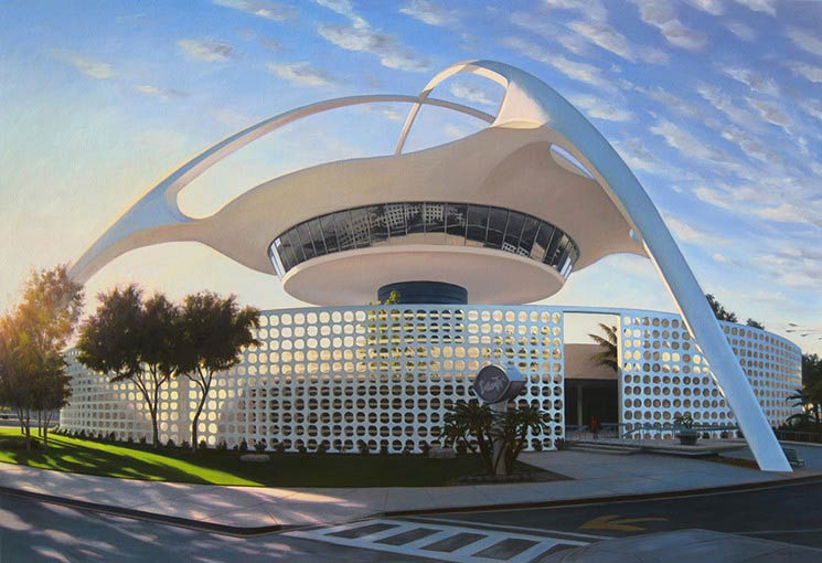 Danny Heller's painting LAX Theme Building — Ground Level (2011)