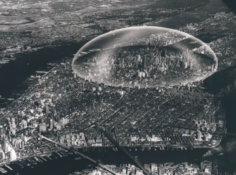 Buckminster Fuller's Dome Over Manhattan (1961) was to run river to river from 29th to 62nd Streets