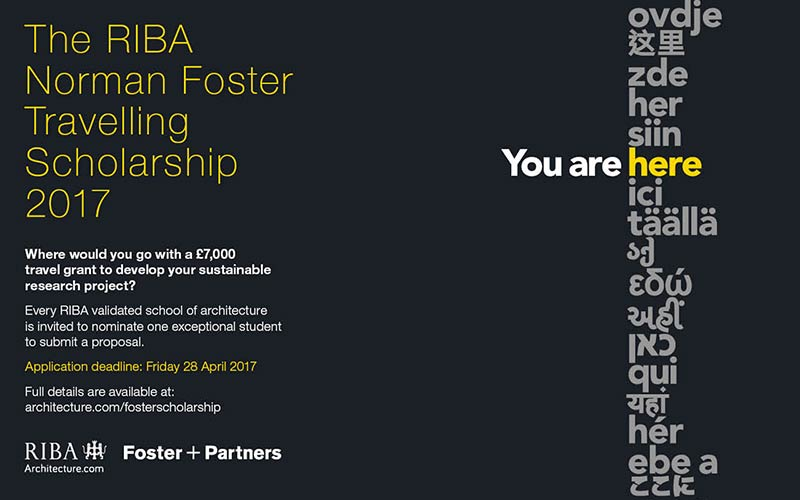 The RIBA Norman Foster Travelling Scholarship 2017 launched