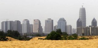Sand piled up on the outskirts of Zhengzhou, China