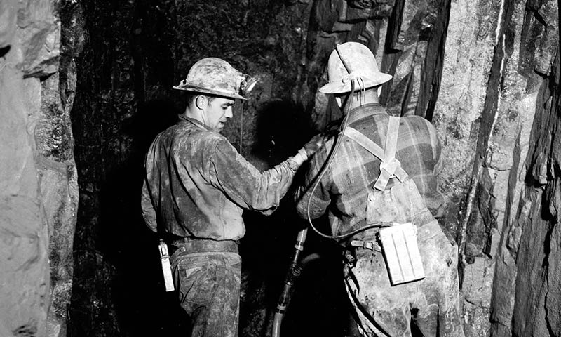 Miners drill for silver in Cobalt, Ontario