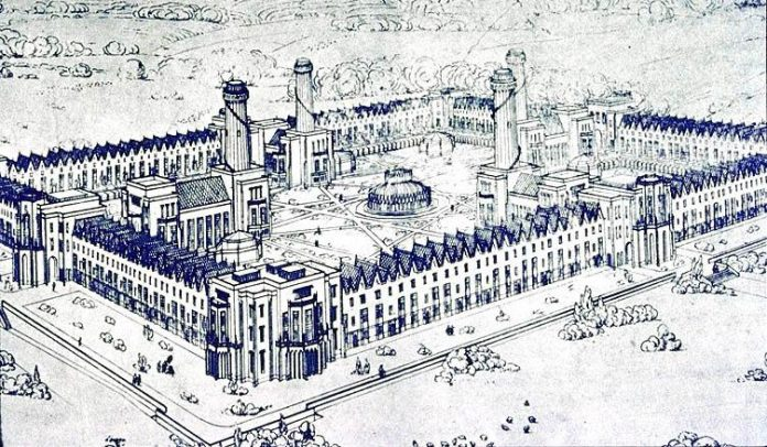 New Harmony as imagined by Robert Owen and drawn by an English architect