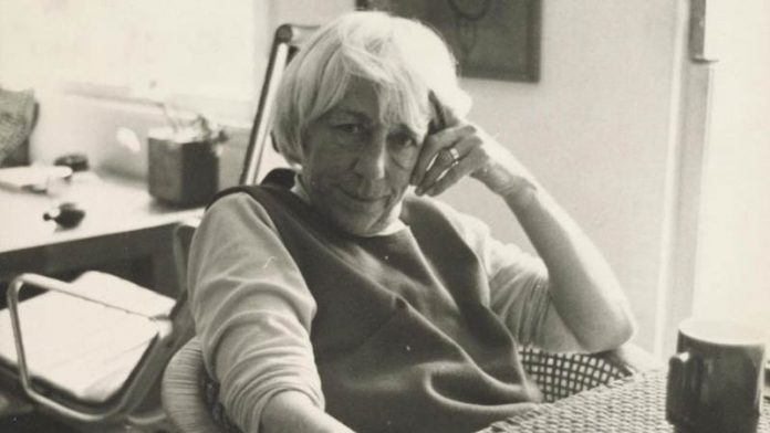 Esther McCoy at work in Santa Monica in the 1980s.