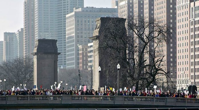 Women's March protesters on the Van Buren Street Bridge in Chicago
