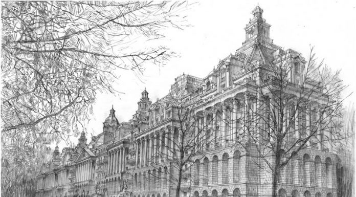 A sketch by Francis Terry for apartments to replace Basil Spence's 1970 tower at Hyde Park Barracks