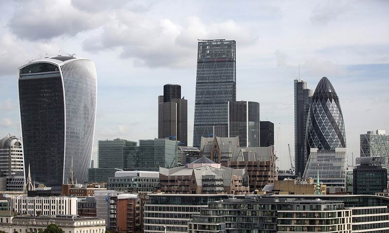 the City of London skyline, including the skyscrapers which have been nicknamed the Walkie-Talkie, the Cheesegrater and the Gherkin
