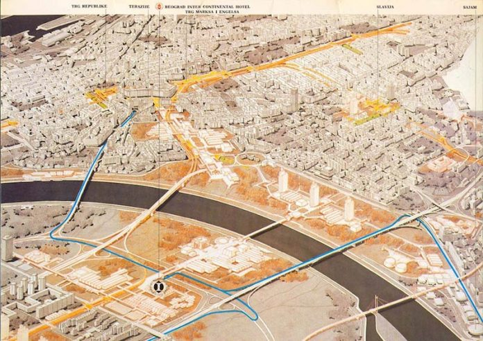 Map of Belgrade from the 1980s, showing planned urban developments