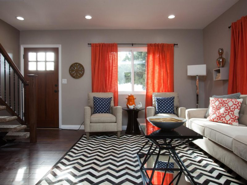 Chevron rug with taupe walls