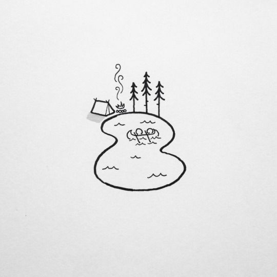 104. Simple Sketch of a Pond and a Camping Site