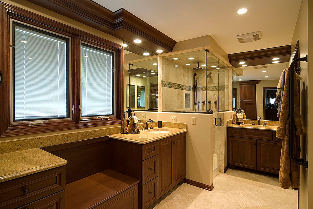 Unique The Classy Shower Adorned By Beige And Wooden Decor