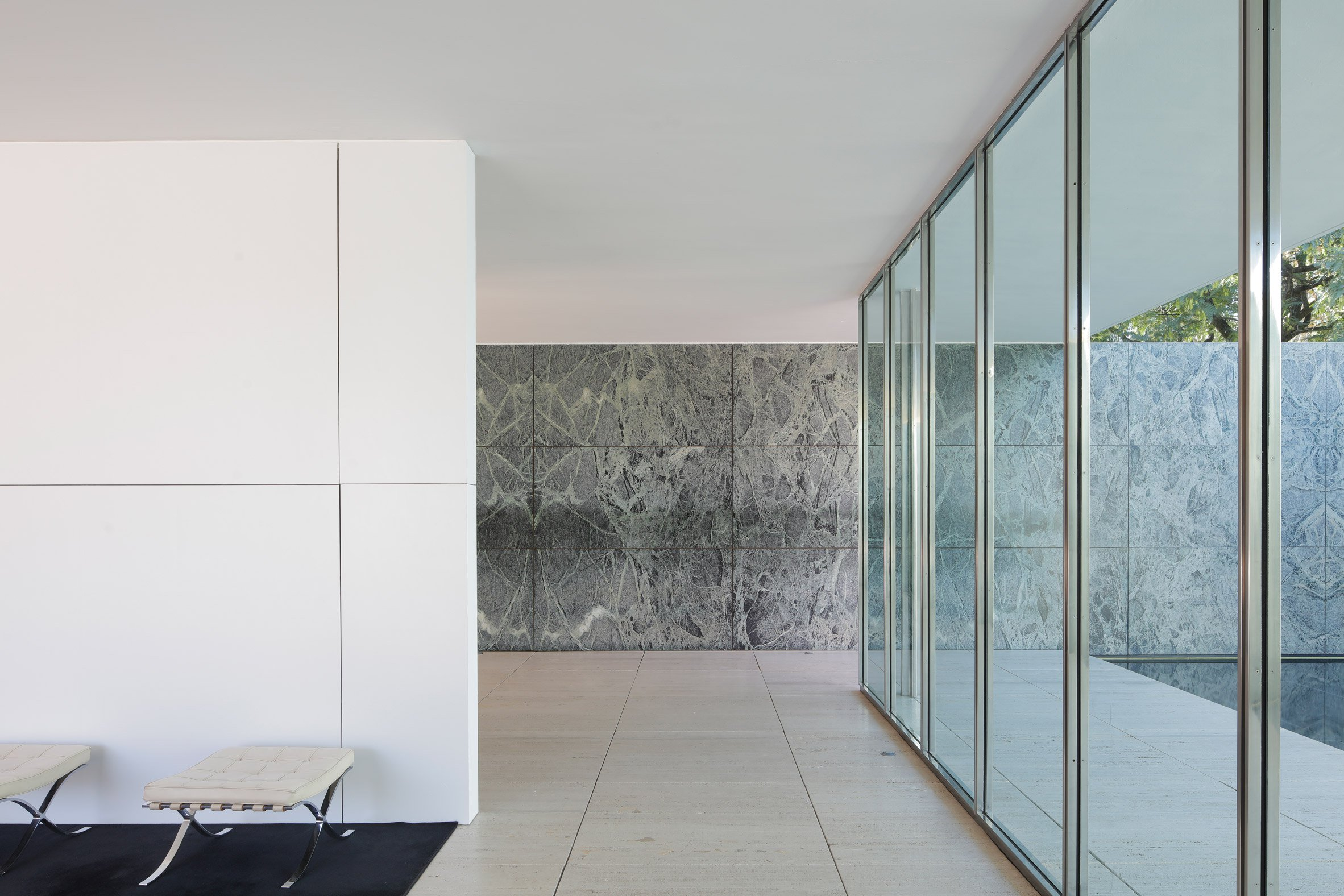 Marble Walls Whitened Temporarily In Mies Van Der Rohes Pavilion